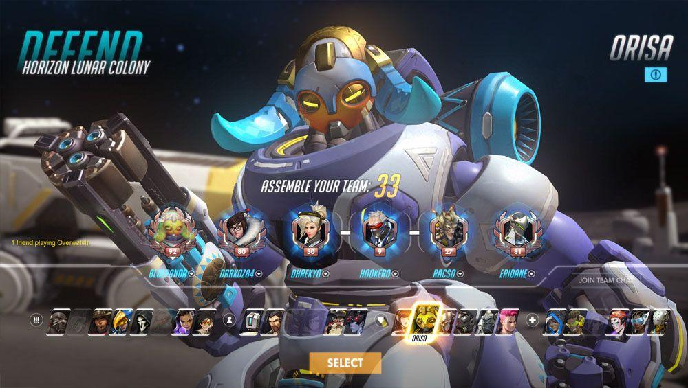 selección de personajes